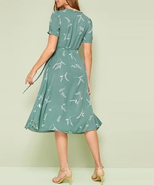 Picture of Floral Print Wrap Knotted Women Dress