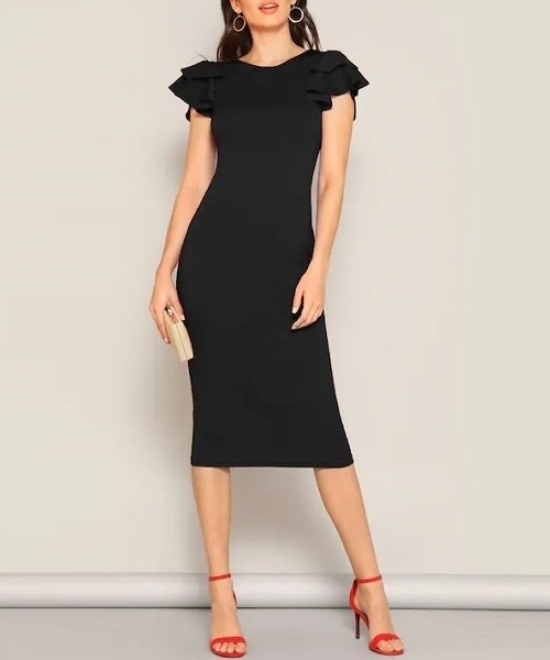 Picture of Crisscross Back Butterfly Sleeve Pencil Midi Dress