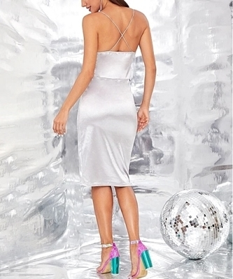 Picture of Sequin Criss-cross Slip Bodycon Midi Cocktail Dress