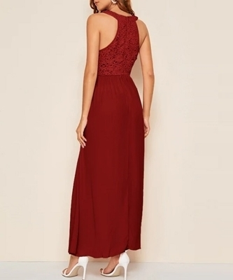 Picture of Guipure Lace Maxi Halter Occasion Dress
