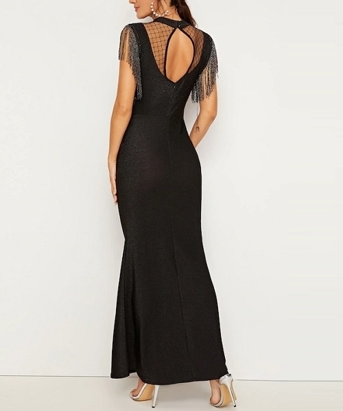 Picture of Mesh Contrast Fringe Detail Fishtail Formal Dress