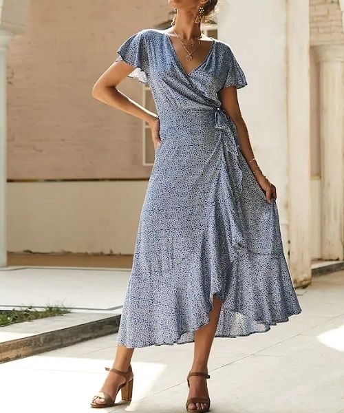 Picture of Floral Wrap Tie Side Ruffle Hem Long Dress