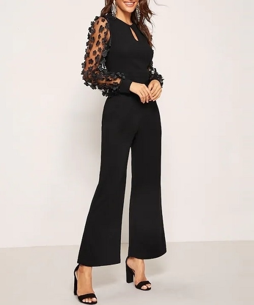 Picture of Applique Sheer Sleeve Keyhole Front Women Jumpsuit