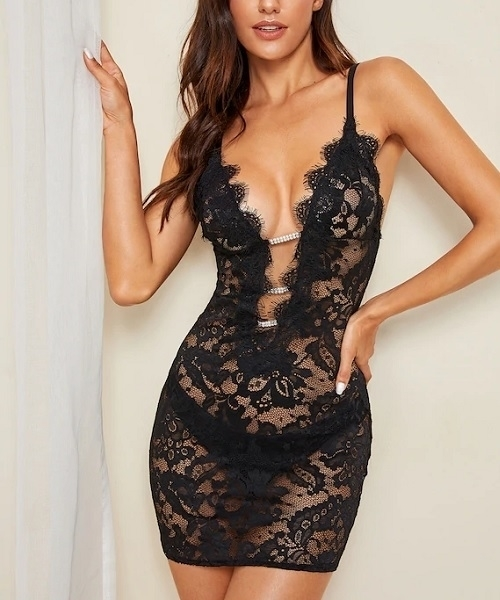 Picture of Floral Lace Sheer Babydoll Lingerie Set