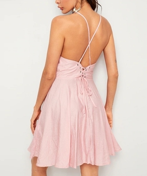 Picture of Criss-cross Lace Up Back Skater Dress