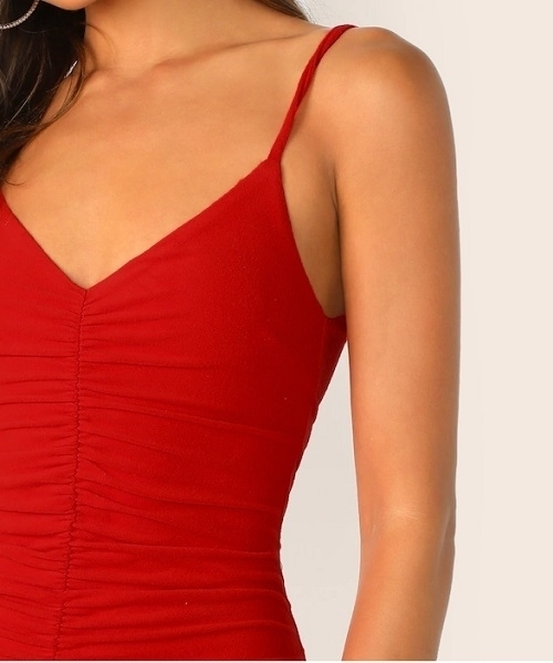 Picture of Solid Ruched Bodycon Slip Cocktail Dress