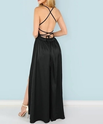 Picture of Sequin Panel Split Maxi Cami Evening Dress