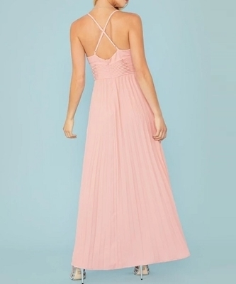 Picture of Plunging Crisscross Back Pleated Maxi Formal Dress