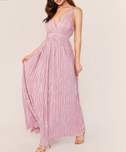 Picture of Pleated High Waist Surplice Maxi Formal Dress