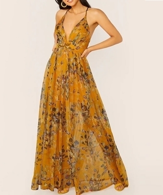 Picture of Floral Plunging Crisscross Open Back Halter Occasion Maxi Dress