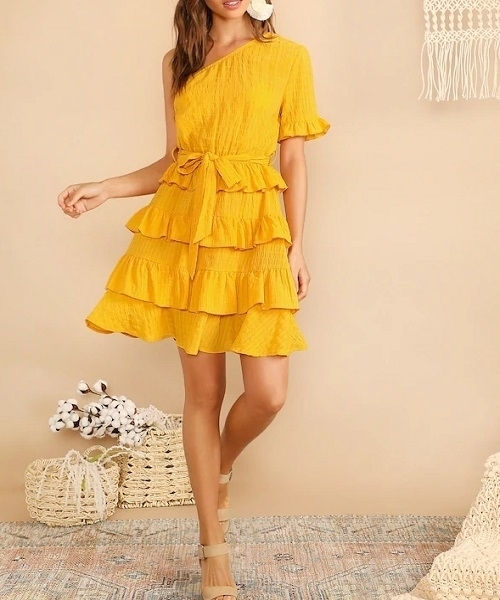 Picture of One Shoulder Layered Ruffle Crinkle Dress