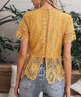 Picture of Guipure Lace Zip Back Peplum Top Women
