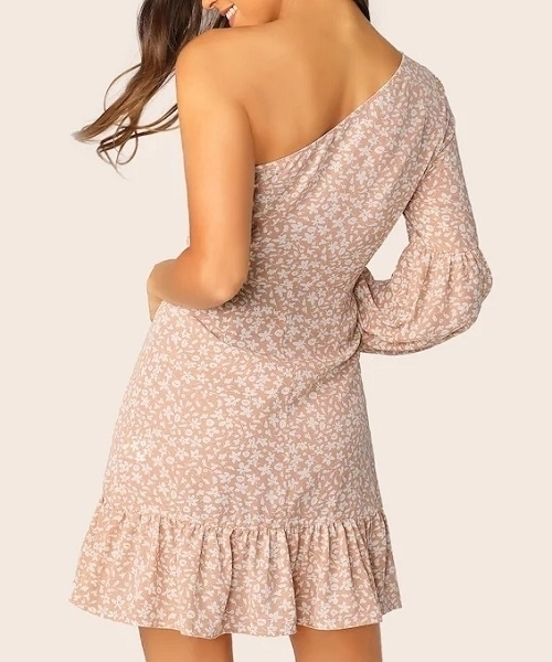 Picture of Floral One Shoulder Lantern Sleeve Ruffle Dress