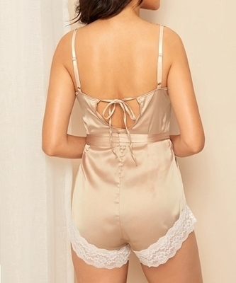 Picture of Lace Trim Satin Romper Sleepwear Women