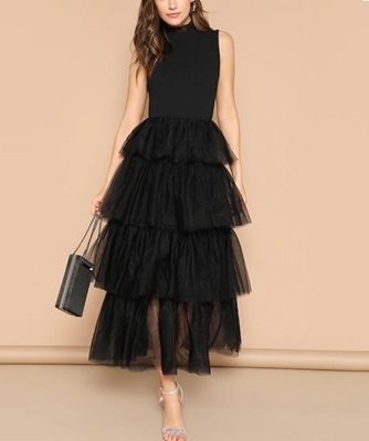 Picture of Layered Mesh Flounce Hem Occasion Dress