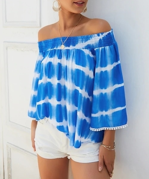 Picture of Tie Dye Shirred Off Shoulder Ladies Blouse