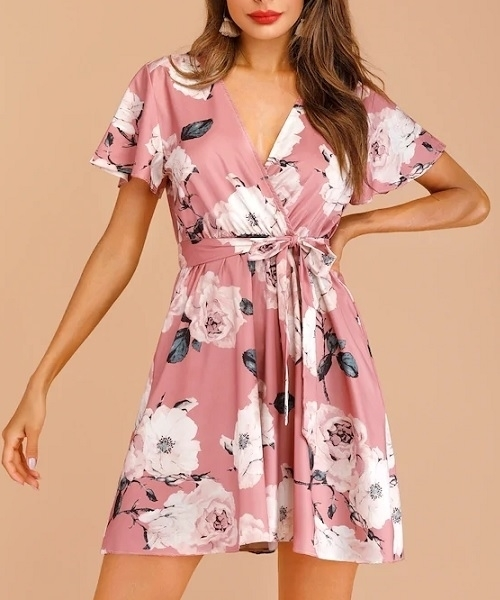 Picture of Floral Print Wrap Belted Women Dress