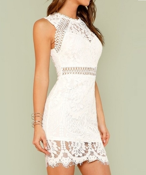 Picture of Scalloped Hem Guipure Lace Bodycon Dress