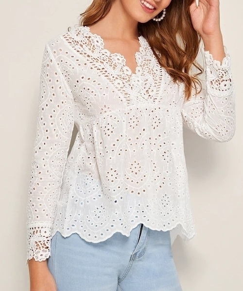 Picture of Solid Eyelet Embroidery Peplum Ladies Blouse