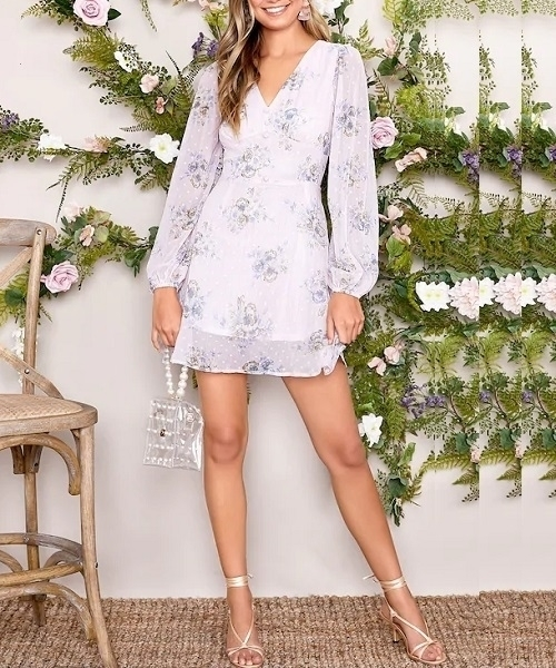 Picture of Floral & Polka-Dot Button Front  Dress