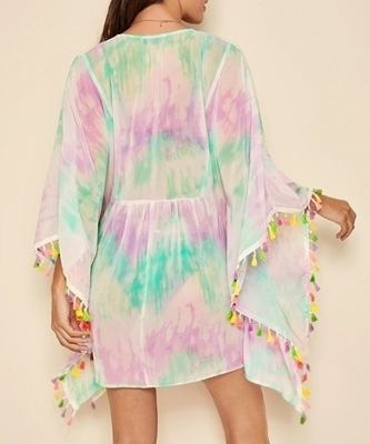 Picture of Tie Dye Colorful Tassel Trim Beach Cover Up