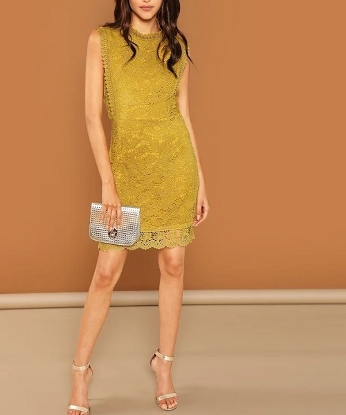 Picture of Guipure Lace Overlay Bodycon Dress