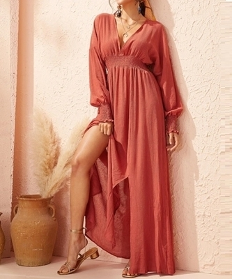 Picture of Solid Shirred Waist Slit Hem Maxi Long Dress