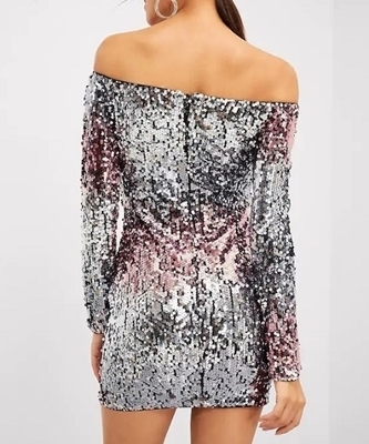 Picture of Off Shoulder Ombre Sequin Cocktail Dress