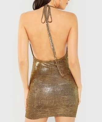 Picture of Gold Draped Halterneck Metallic Bodycon Cocktail Dress