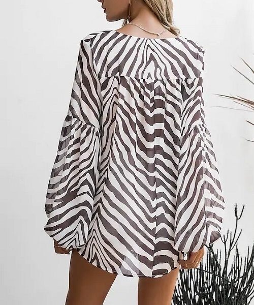 Picture of Chiffon Print Lace Up Bishop Sleeve Women Top