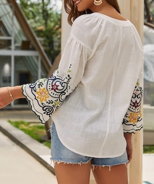 Picture of Tassel Tie Embroidery Sleeve Ladies Blouse