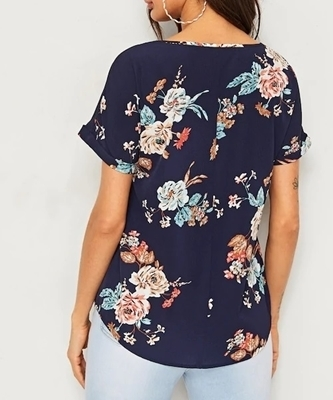Picture of Floral Print Rolled Cuff Ladies Top