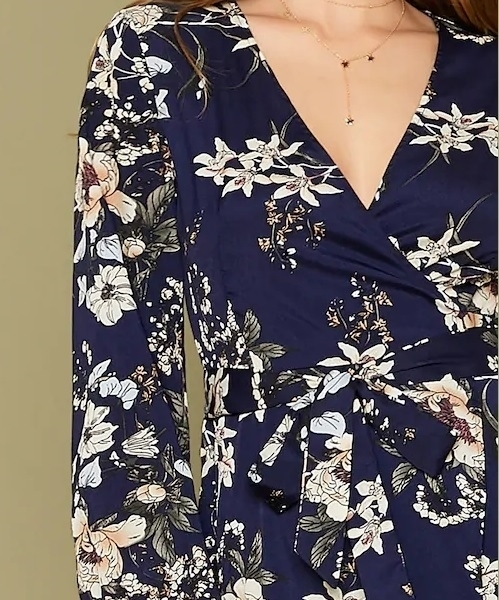 Picture of Floral Asymmetrical Wrap Belted Women Dress