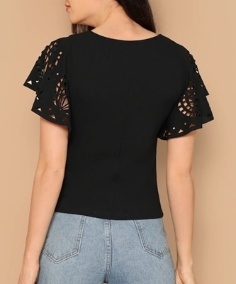 Picture of Laser Cut Flutter Sleeve Women Top