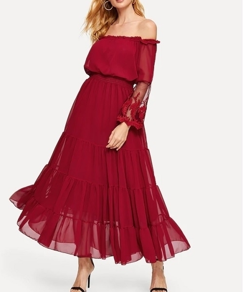 Picture of Off Shoulder Embroidered Mesh Sleeve Tiered Occasion Dress