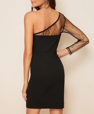 Picture of One Shoulder Mesh Yoke Pencil Cocktail Dress