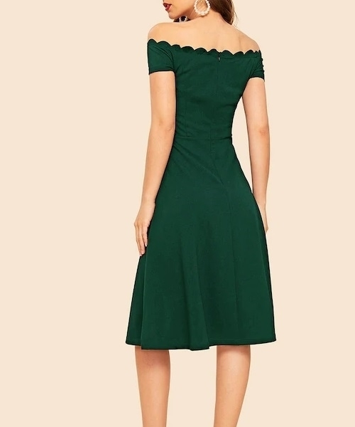 Picture of Scallop Trim Off Shoulder Midi Dress