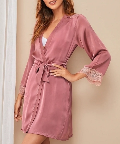 Picture of Floral Lace Trim Satin Feel Belted Robe