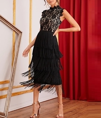 Picture of Lace Bodice Layered Fringe Pencil Cocktail Dress