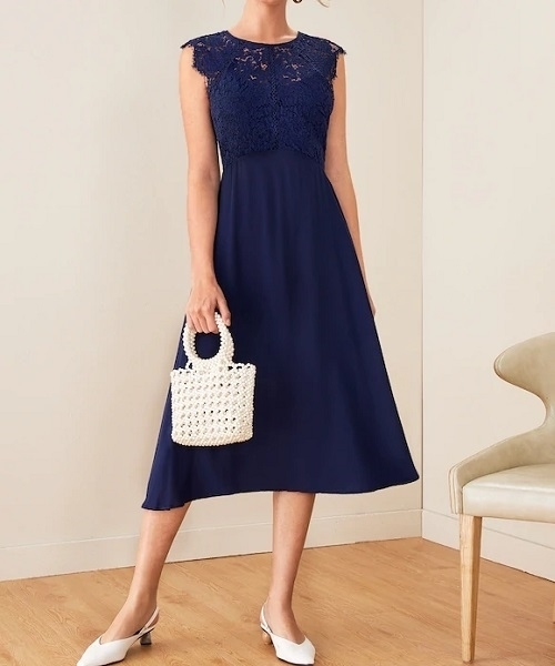 Picture of Cutout  Lace Bodice Flare Cocktail Dress