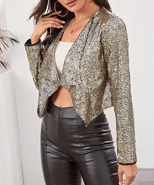 Picture of Sequin Waterfall Collar Crop Jacket