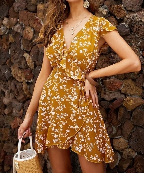 Picture of Floral Ruffle Trim Wrap Summer Dress