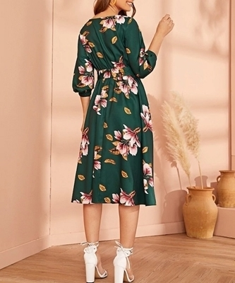Picture of Floral Elastic Waist Belted Women Dress