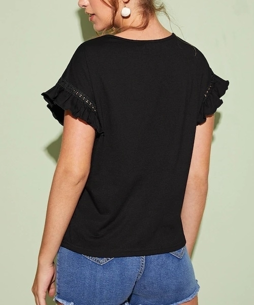 Picture of Lace Trim Flounce Sleeve Solid Tee