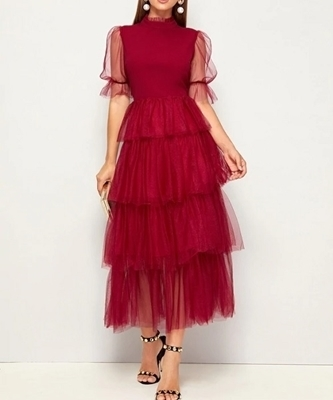 Picture of Layered Mesh Puff Sleeve Occasion Dress
