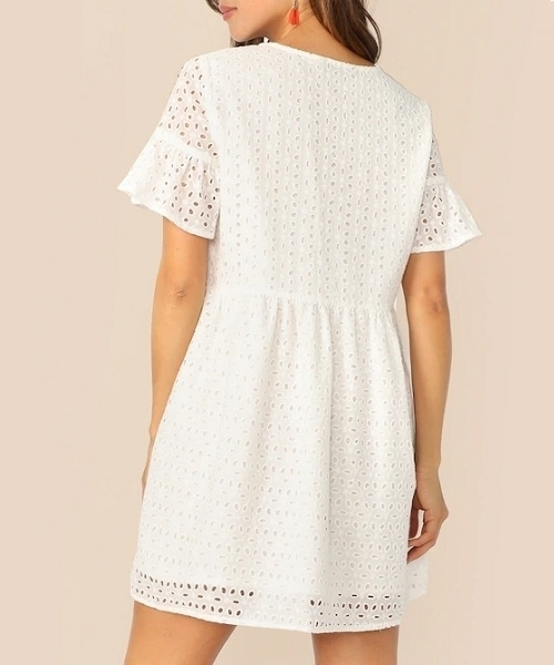 Picture of Cotton Flounce Sleeve White Shift Women Dress