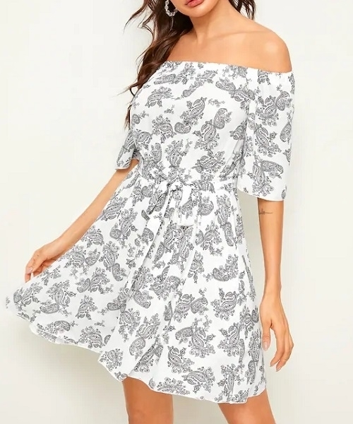 Picture of Off Shoulder Paisley Print Belted Dress
