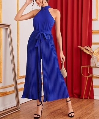 Picture of Pleated Wide Leg Belted Halter Women Jumpsuit