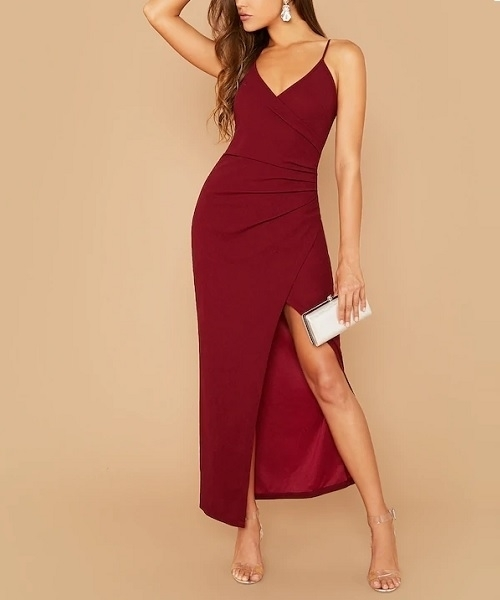 Picture of Asymmetrical Wrap Ruched Side Split Thigh Slip Long Occasion Dress