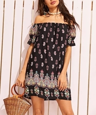 Picture of Paisley Print Ruffle Trim off Shoulder Dress